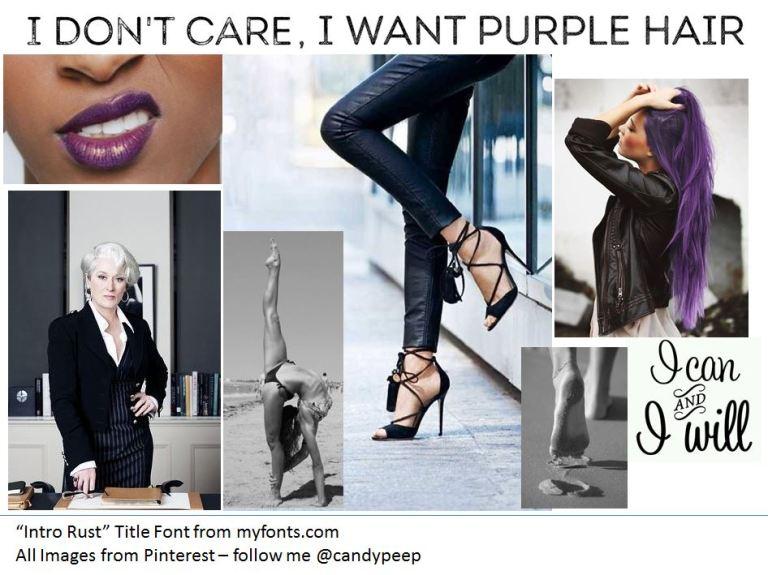 purple hair, edgy, moodboard